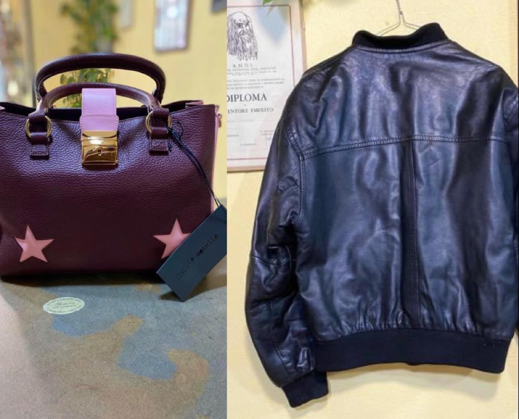 foto box rip. giacca e borse